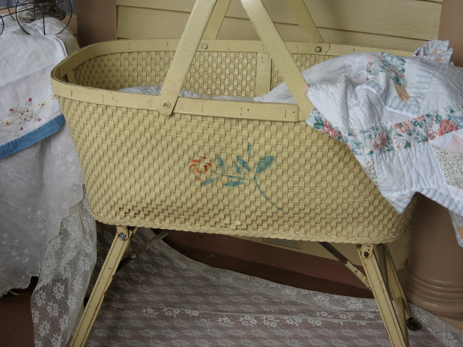 Treasury Item Vintage Wicker Basket Style Bassinet