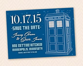 Printable DIY Tardis Wedding Save the Date