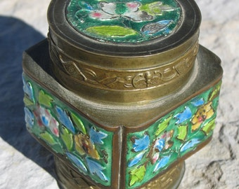 Cloisonne & brass tea box from China  BOX011