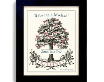 Custom Wedding Gift Personalized Tree Art Lovebirds Wedding Art Print Unique Wedding Gift for Wedding I Love You Gift Kissing For couples
