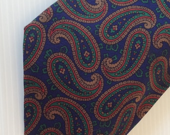 silk necktie, silk paisley pattern necktie, mens fashion, for him, blue silk, silk tie,  high fashion tie, leschka vienna salzburg