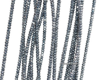 3x2mm Noir Black Hematite Gemstone Black Faceted Rondelle Loose Beads 16 inch Full Strand (90147070-336)