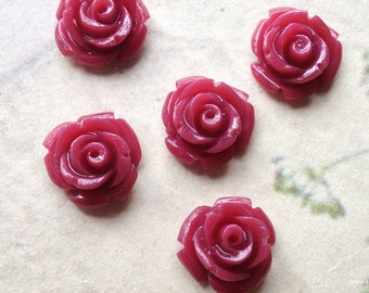 10 mm Umber Red Garden Rose Resin Flower Cabochons (.tc)