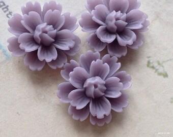 26 mm Purple Chrysanthemum Resin Flower Cabochons (B)(.gm).