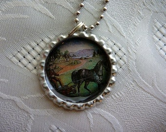 Bottle Cap Pendant-Horse and Cart, Wine Glass Charm, Keychain, Magnet, Horses-Country Life-(A190)  Buy 3 Get 1 Free