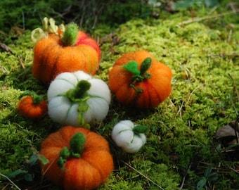 Needle Felted Pumpkins of Orange & White Set of 6 Halloween Thanksgiving Fall Decor Handmade