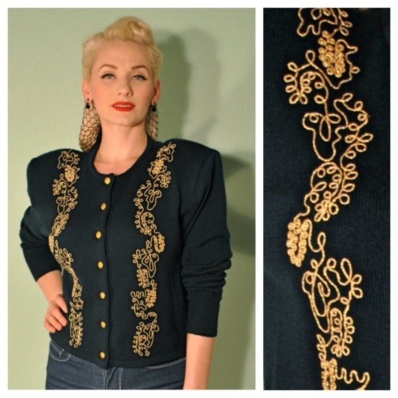 Vintage Cardigan in Dark Forest Green with Gold Detail Ribbon Embroidery and Buttons Great for Rockabilly Pinups