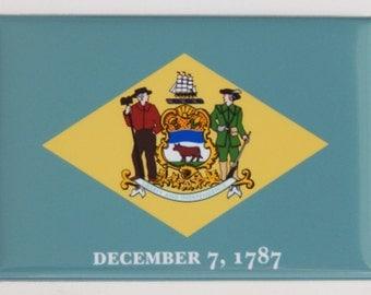 Delaware State Flag Fridge Magnet (2 x 3 inches)