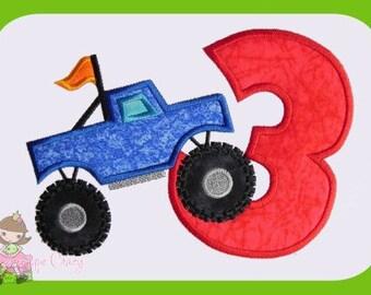 Monster truck Applique Number Three design