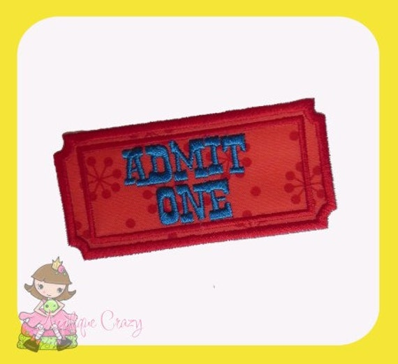 Admission ticket Applique design