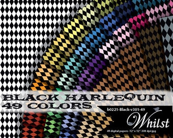 Harlequin digital paper small background pattern mini geometric scrapbooking : b0221 Black v301 49C