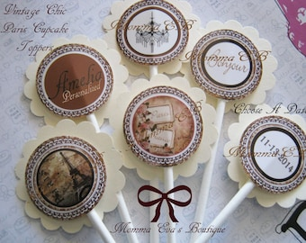 Momma Eva's -- (12)  Vintage Chic Paris Layered Cupcake Toppers //   Baby Shower  / Bridal Shower / Keepsakes // Personalized Decorations