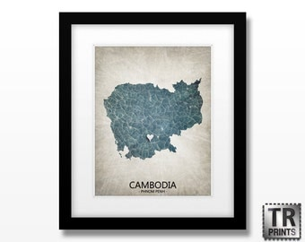 Cambodia Map - Home Is Where The Heart Is Love Map - Original Custom Map Art Print Available in Multiple Size and Color Options