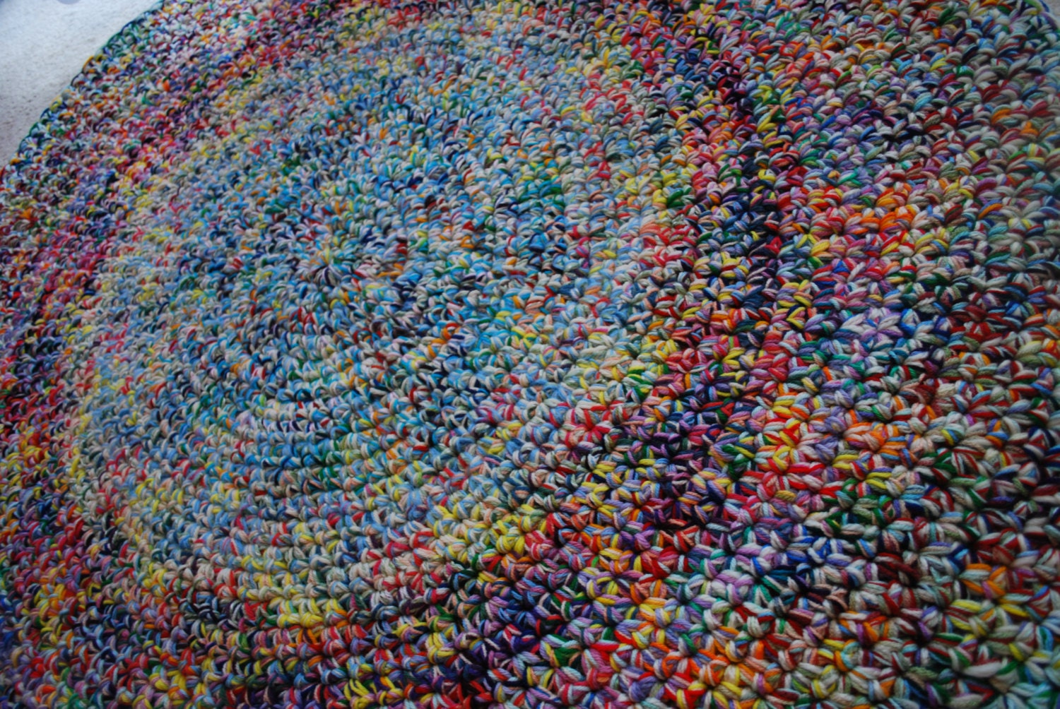 Multicolor handmade circle rug