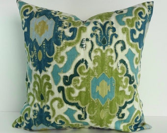 Blue and Green Decorative Pillow Cover, Throw Accent Pillow, Turquoise, Teal Pillow Cushion, Mill Creek Fabric, 18 x 18, 20 x 20