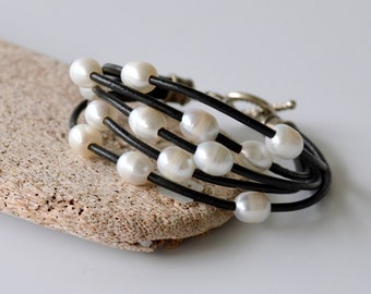 Leather and Pearl Bracelet on Black Leather Cord with Silver Plated Rope Pattern Toggle Clasp, Other Colors Available, Gift Boxed