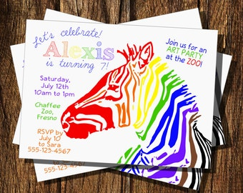 Rainbow Zebra Birthday Invitation