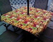 Patio Table Cloth with Opening  for Umbrella