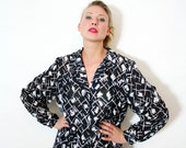 Vintage Oversize Black and White Abstract Print Semi Sheer Button Up Blouse