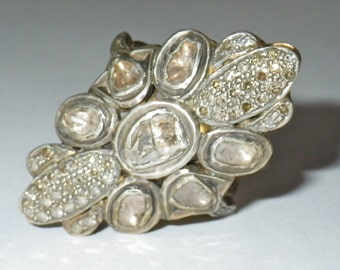 ON SALE Vintage Mughal Diamond 16K Gold and Silver wedding Ring Size 9.25