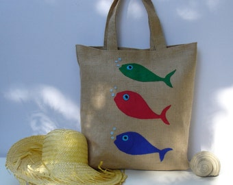 Fish  summer Jute Tote bag,  appliqued with three  fish, handmade ,artistic, eco friendly, shoppers bag, beach bag