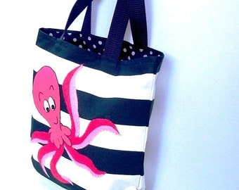 Funky octopus canvas tote bag, handmade blue and white stripped fabric,,appliqued shopper bag, market bag, eco friendly