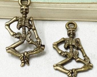 30pcs Antique Bronze Dancing Skeleton Charm Pendants 12x25mm C308-6