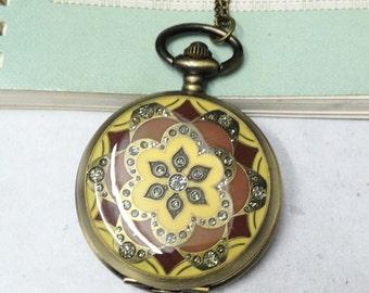 1pc Antique Bronze Large Round Flower Pocket Watch Necklace Pendant Yellow