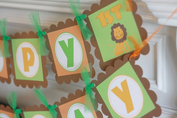 Happy Birthday Lion Giraffe Jungle Animal Theme Banner -Ask about Our Party Pack Special - Free Ship Over 65.00