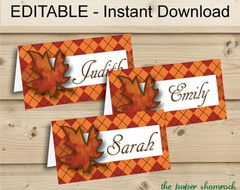 EDITABLE INSTANT DOWNLOAD Printable Thanksgiving Place Cards, Fall Table Tents, Autumn Dinner Party