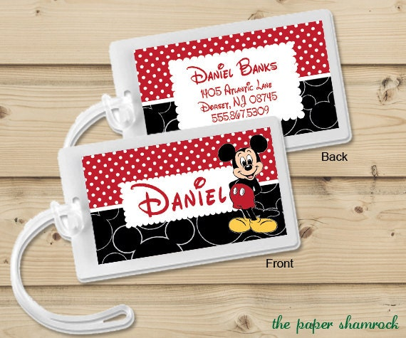 Mickey Mouse Luggage Tag Bag Tag Backpack Tag By
