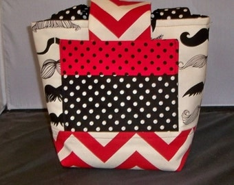 Girls Scripture Bag or Tote Black, offwhite Mustache print with Red Chevron Accents