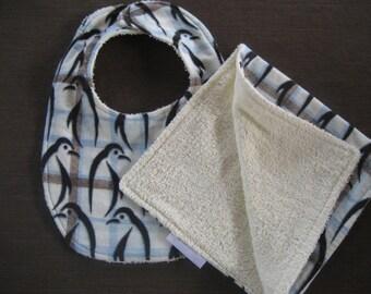 Penquins baby shower gift/Penquins Bib/Penquins Burp Cloth/Baby Shower Gift/Flannel bib set/Zoo Bib Set