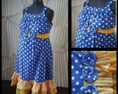 Maternity Hospital Gown- Royal Blue Polka Dot, Yellow Double Ruffle, Removable Dulux Sash (maternity labor gown)