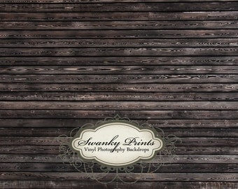 4ft x 3ft Vinyl Photography Backdrop / Black Stained Wood