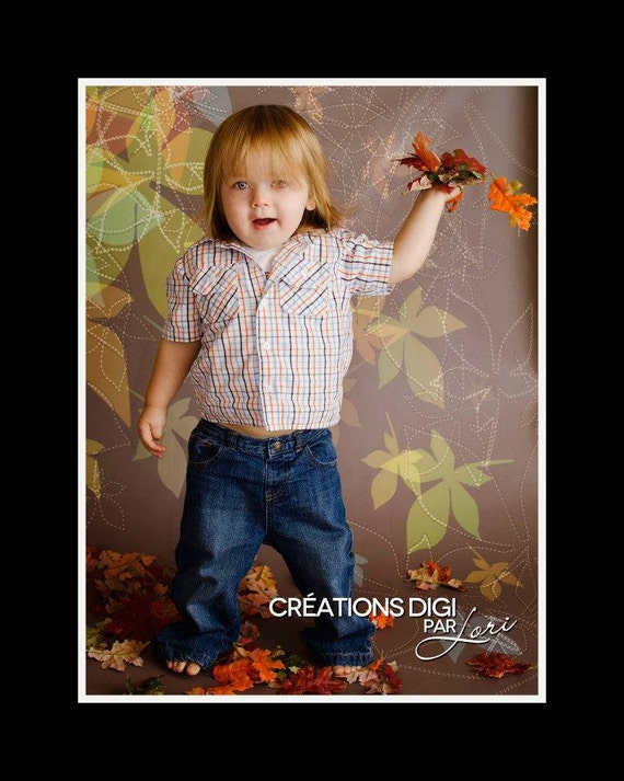 """60"""" x 123"""" All In One / Vinyl Photography Backdrop / Fall /  Falling Leaves"""