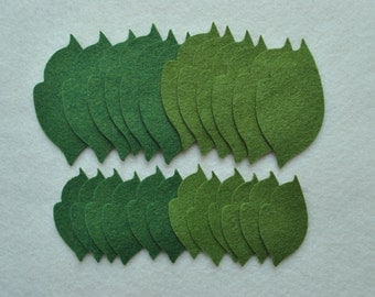 24 Piece Die Cut Felt Leaves, Style No. 7 in Wool Blend Grassy Meadows and Moss