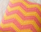 Pink and Tangerine Crochet Pillow - Zigzag, Ripple, Summer Pillow