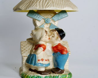 Vintage Oil Lamps, Kissing Dutch Boy And Girl, Made in Japan, w/ Shade