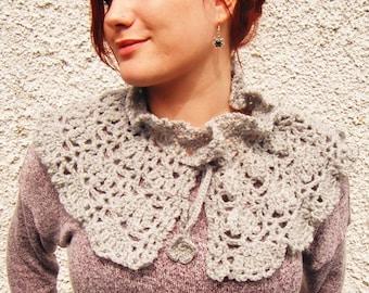 Grey Crochet Capelet Neck Accessory Shrug Scarf Shawl