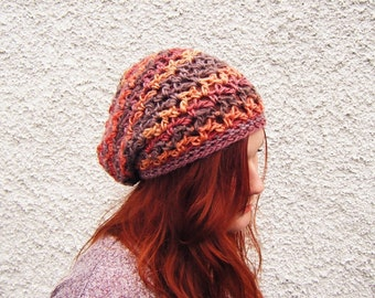 Slouchy Crochet Beanie Multicoloured Hat