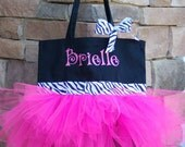 Personalized Tutu Dance Bag Tote (Black tote with pink and zebra)