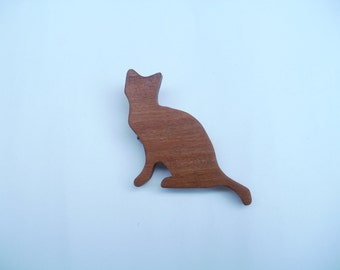 cat  brooch sitting wood jewellery scroll saw