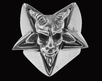 Stainless Steel Goat Head Pentagram Biker Ring - Free Re-Size/Shipping