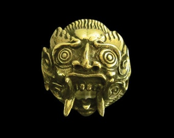 Solid Bronze Balinese Devil Ring - Free Re-Size/Shipping