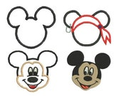 Mickey Mouse Applique Embroidery Designs, Mickey Mouse Embroidery Design, Instant Download
