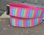 Hot Pink Chevron Velcro Belt (1in)