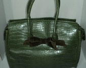"""Vintage Faux Alligator Plastic Vinyl Purse with """"The Limited"""" label inside in Good Vintage Condition, Larger Sized Handbag and zipper open"""