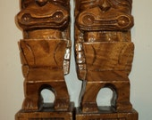 2 Vintage Kawaii Kitsch Tiki Totems Book Ends, Hand Carved Solid Wood  Monkeypod Sculptures with wonderful patina for function and display