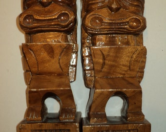 2 Solid Wood Book Ends, Hand Carved Solid Wood  Monkeypod Sculptures with wonderful patina for function and display, Kawaiin Kitsch Display